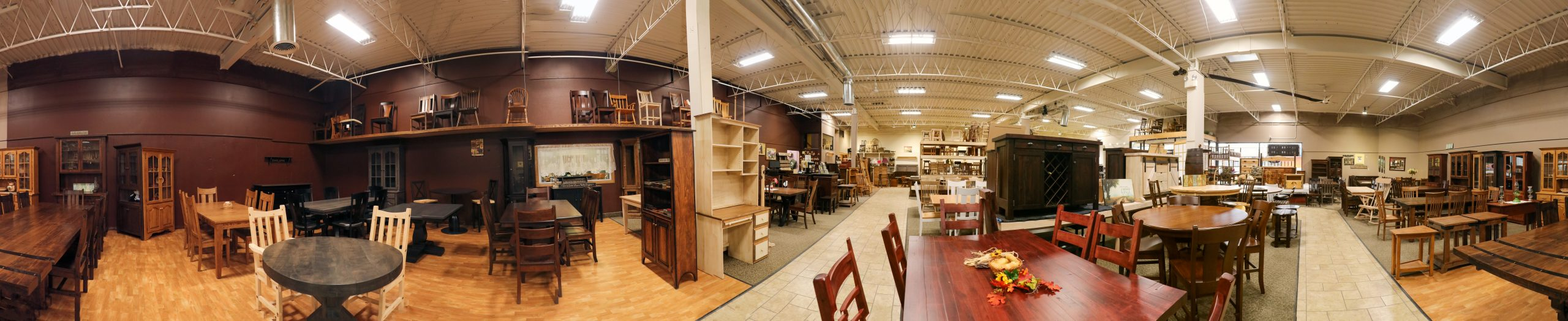 A panorama of the furniture store.